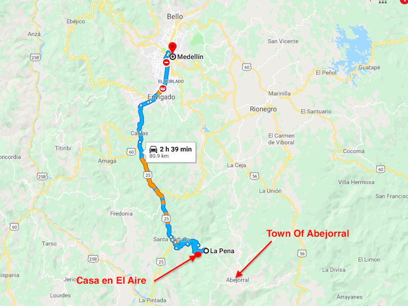 How to get to La Pena, Abejorral