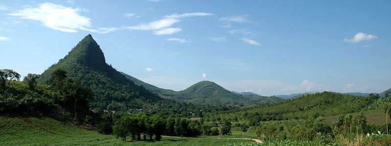 green forested mountains seen in northern thailand