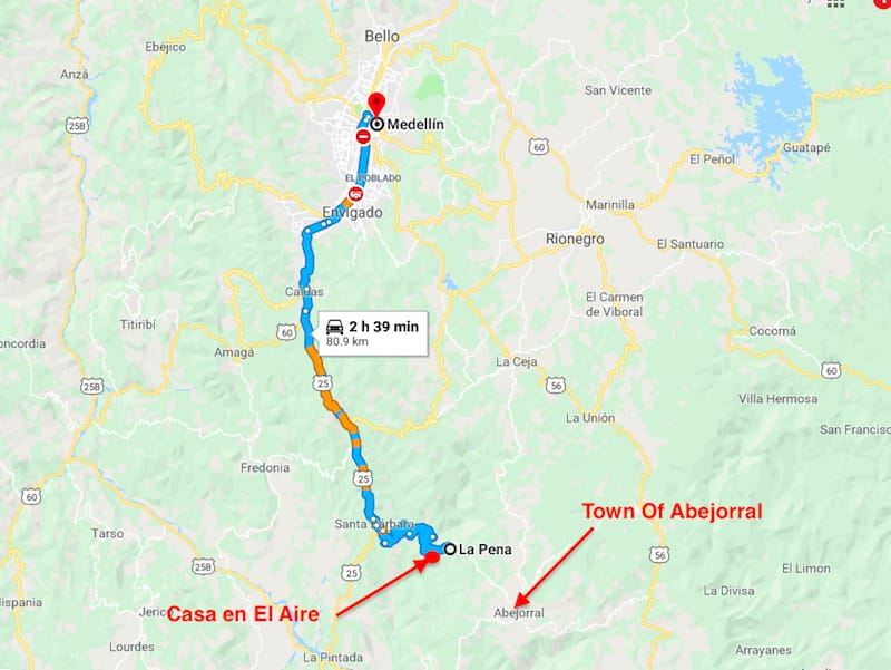 Map of how to get to abejorral from medellin