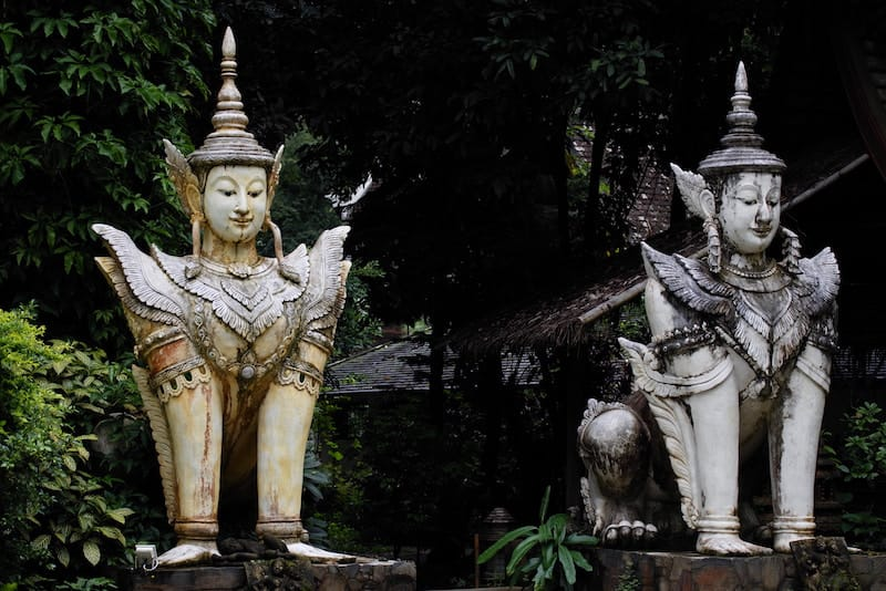 old statues seen around chiang mai in northern thailand