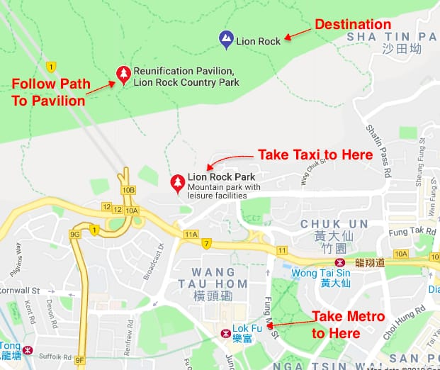 Map of how to get to Lion Rock Hong Kong