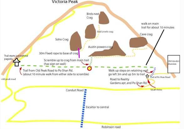 Map of How to Get to the Central Crags Hong Kong
